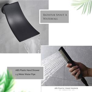 Image 4 - ULGKSD LED Rain Shower Faucet Set Digital Single Handle Mixer Tap Waterfall Tub Spout W/ Hand Shower For Bathroom Faucets