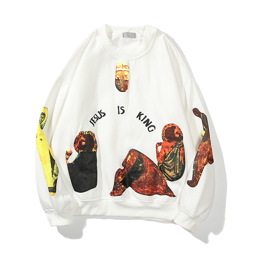 Jesus Is King Round-neck Thick Material Mural Logo Print Sweatshirts  1