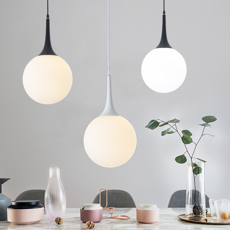 LukLoy LED Nordic Modern Pendant Light Glass Hanging Lamp Simple Restaurant Personality Living Room Bedroom Glass Ball Lamp|Pendant Lights|   - title=