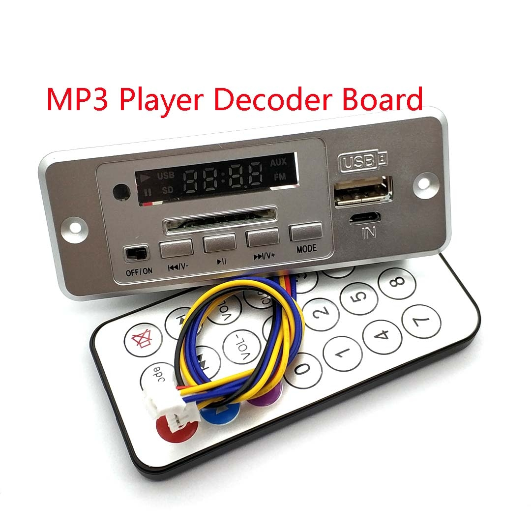 Wireless 5V MP3 Player Decoder Board Integrated WMV Decoder Board Audio Module USB TF Radio For Car Red Digital LED With