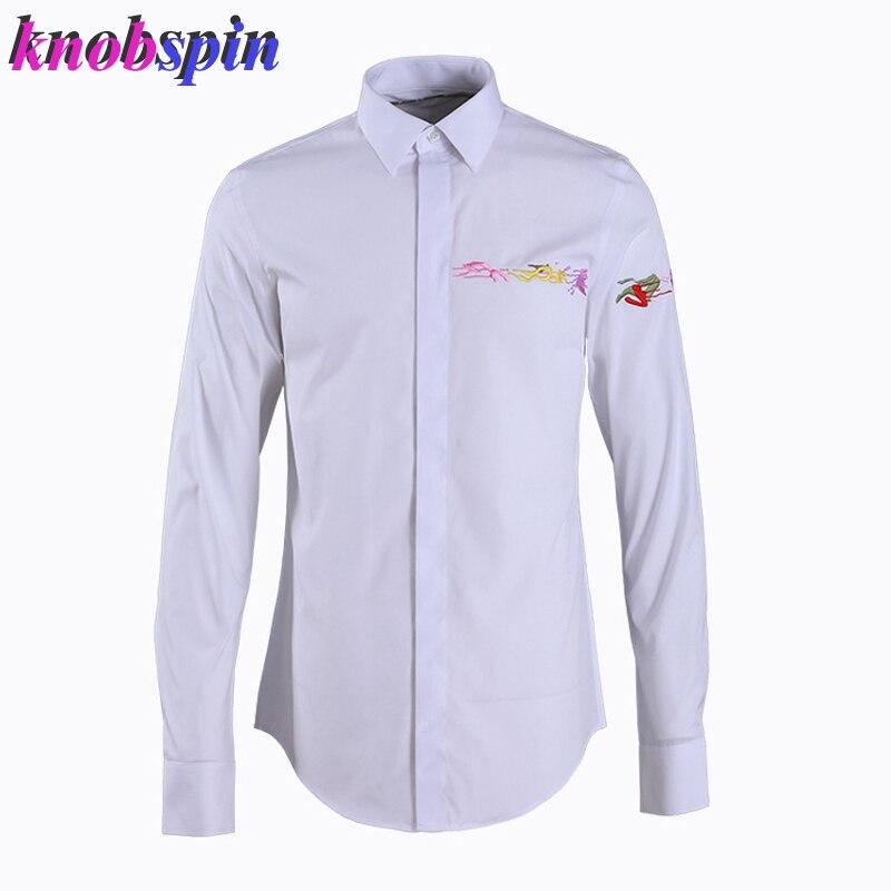 Encre colorée broderie hommes chemise à manches longues marque hommes vêtements solide mince affaires hommes robe chemises de grande taille 2XL 3XL 4XL