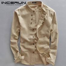 New Spring  Men Shirts Stand Collar Solid Long Sleeve Streetwear Fashion Business Brand Shirts Cotton Camisas Hombre INCERUN
