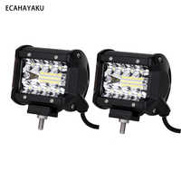 """2 Pieces Hot selling brightness 4""""inch Tri-row 6000lm 60w offroad led light bar 6000K for 10-30V DC ATV SUV Tractor and Trailers"""