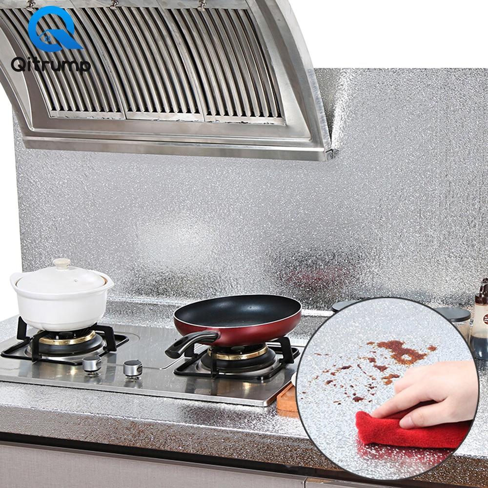 Multifunctional Waterproof Oil-proof Self Adhesive Wallpaper Aluminum Foil Furniture Kitchen Stove Backsplash Decor Film Sticker