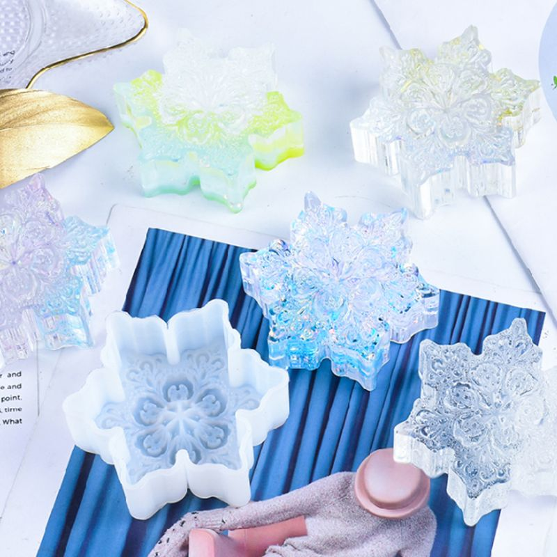 DIY Crystal Epoxy Mould Large Snowflake Mold High Mirror Pendant Set Table Decoration Christmas Ornament Gifts
