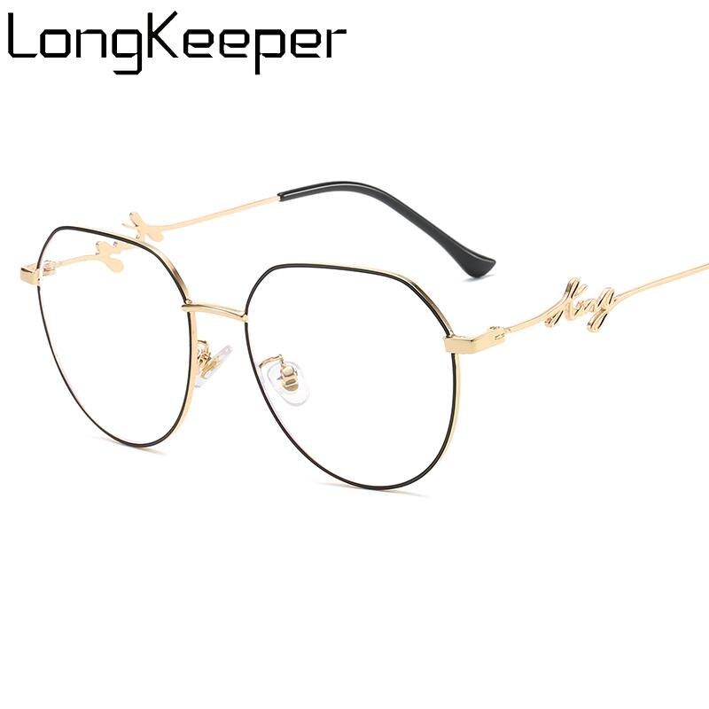 LongKeeper Blue Light Blocking Glasses Women Vintage Metal Polygon Eyeglass Frame Female Computer Eyeware Optical Spectacle