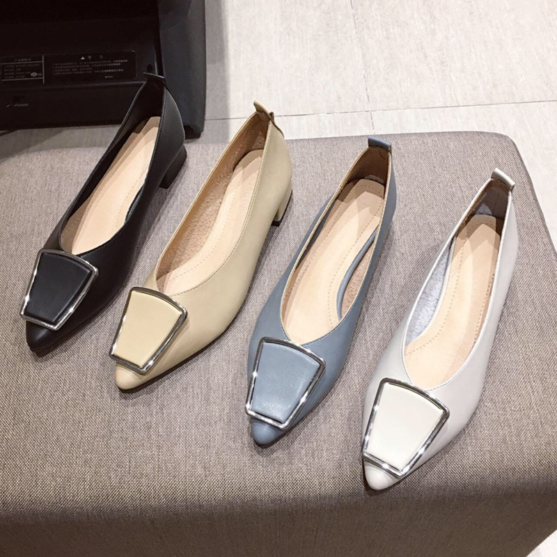 Luxury Women Shoes Pumps High Heel Shoes Woman Fashion Pointed Low (1cm-3cm) Slip-On Mary Janes Zapatos De Mujer Ladies Shoes