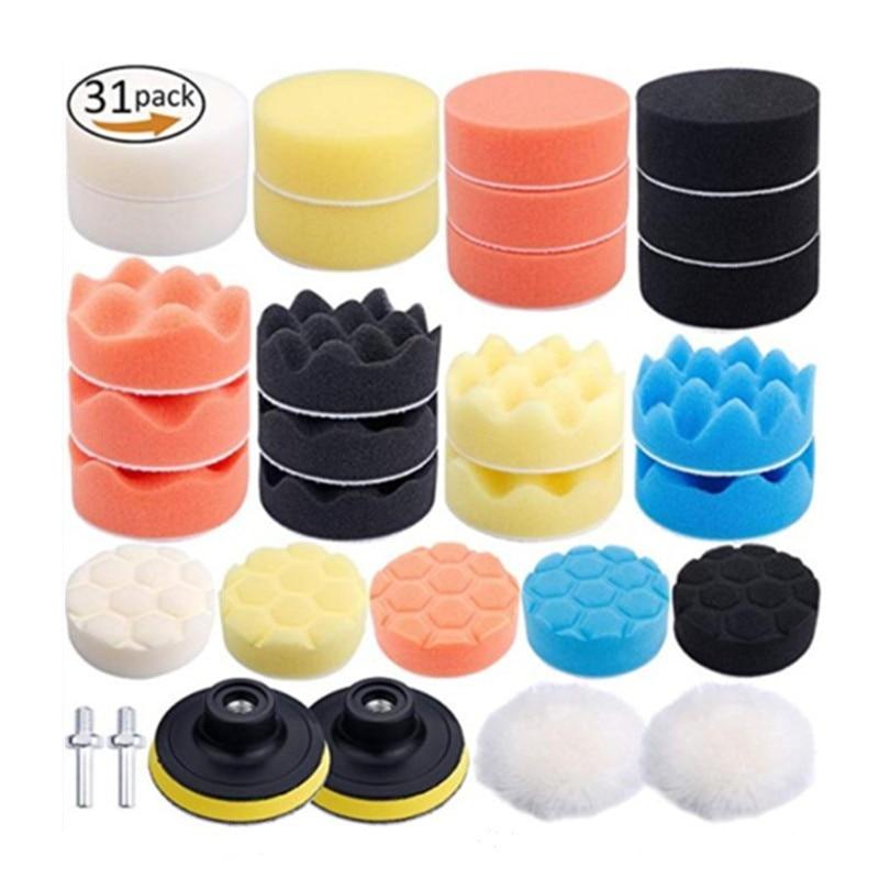 31Pcs Car Foam Drill Polishing Pad Kit For Car Polisher + M10 Drill Adapters 3 Inch Sealing Glaze Waxing Buffing Pads Set