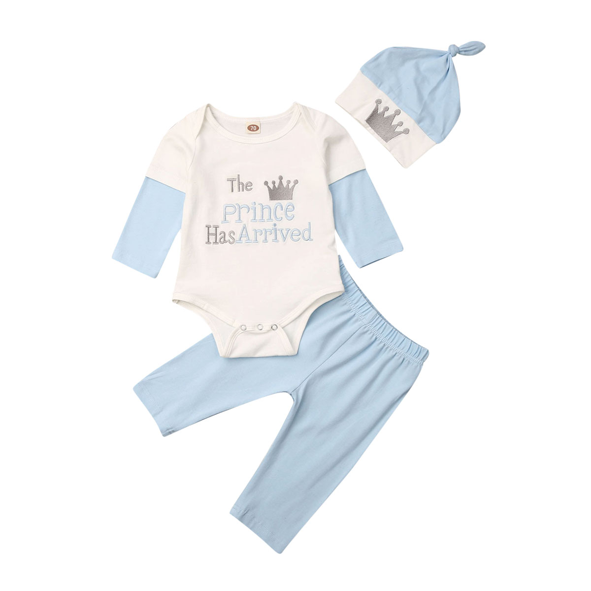 """/""""The Prince Has Arrived/"""" Newborn Baby Boys Romper Hat 2Pcs Outfits Shower Gift"""