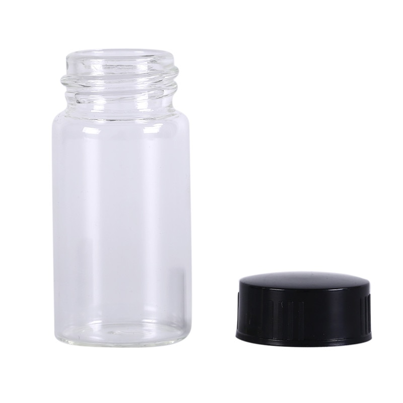 1pcs <font><b>20ml</b></font> Transparent Clear Lab Small <font><b>Glass</b></font> <font><b>Vials</b></font> <font><b>Bottles</b></font> Containers <font><b>With</b></font> Black <font><b>Screw</b></font> <font><b>Cap</b></font> Liquid Sampling Sample <font><b>Glass</b></font> <font><b>Bottles</b></font> image