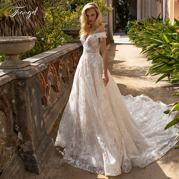 Traugel Sweetheart A Line Lace Wedding Dress Elegant Applique Off The Shoulder Bride Dress Cathedral Train Bridal Gown Plus Size