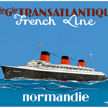 Normandie Sailing Post Ship Tour paisaje viaje Retro Vintage de póster lienzo DIY pegatinas de pared pósteres casa Decoración Para Bar