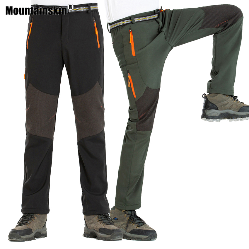 Mountainskin Men's Winter Softshell Fleece Hiking Pants Outdoor Sports Running Skiing Trekking Camping Male Thick Trousers VA575
