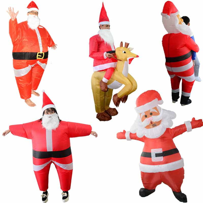 Inflatable Christmas Santa Costume Riding Deer Adult For Role Playing Party Prop