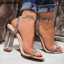 Aneikeh 2020 Sequins Rhinestone Fashion Women Heeled Sandals Peep Toe Perspex Heel High Heels Sandals Lady Nightclub Shoes 41 42(China)