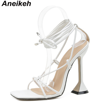 Aneikeh Fashion 2021NEW Summer Women's Sandals PU Lace-Up Thin High Cover Heel Shallow Mature Serpentine Dance Solid Pumps 35-40 10