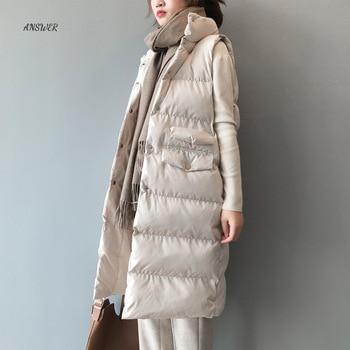 Autumn Winter Cotton Vest Women Ladies Casual Waistcoat Female Sleeveless Long Vest Jacket Slim Fit Warm Puffer Coat