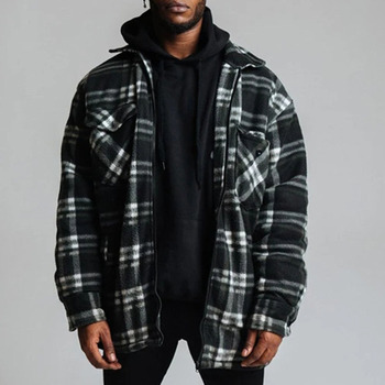 Western Style  Mens Jacket Spring Autumn The New Fashion Loose Casual Simple Designer Hot Sale Lattice Zipper Long Sleeve