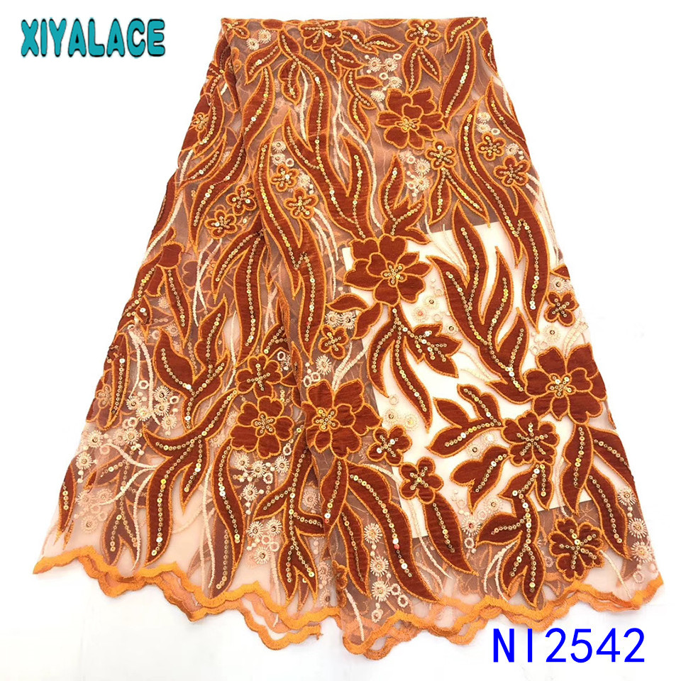 New Arrival Velvet Lace Fabrics African Nigerian Mesh Lace Fabric Velvet Fabrics Laces With Sequinsfor Wedding KSNI2542