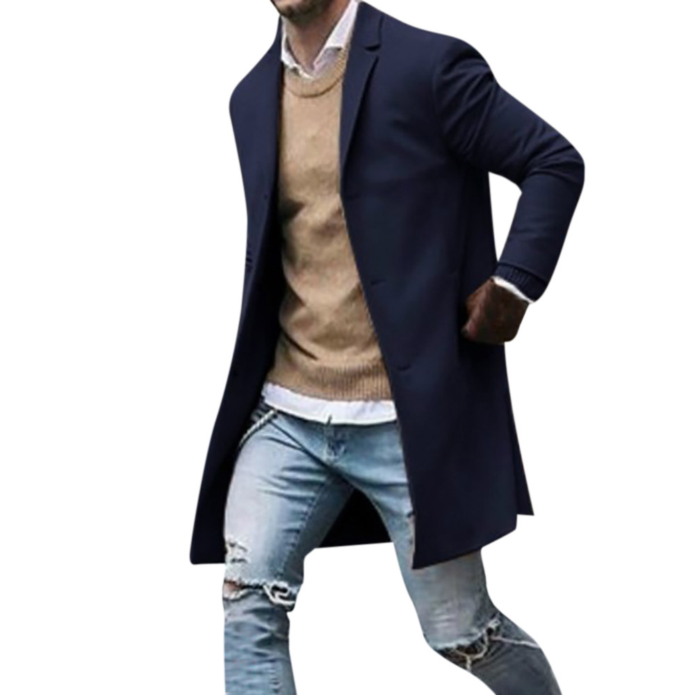 Men's Overcoat Fashion Autumn Winter Button Slim Long Sleeve Suit Jacket Trench Coat Casual high quality Mens Tops Blouse 020New 21