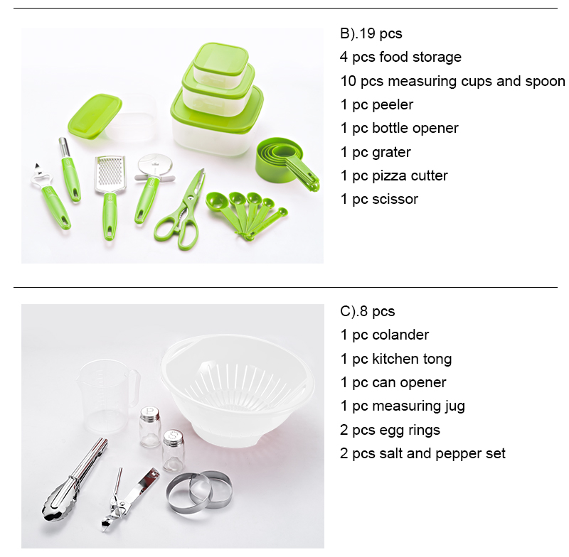 45 Pcs cooking pots and pans set utensils shovel soup spoon stainless steel and nylon material kitchen tools Cookware Set Green