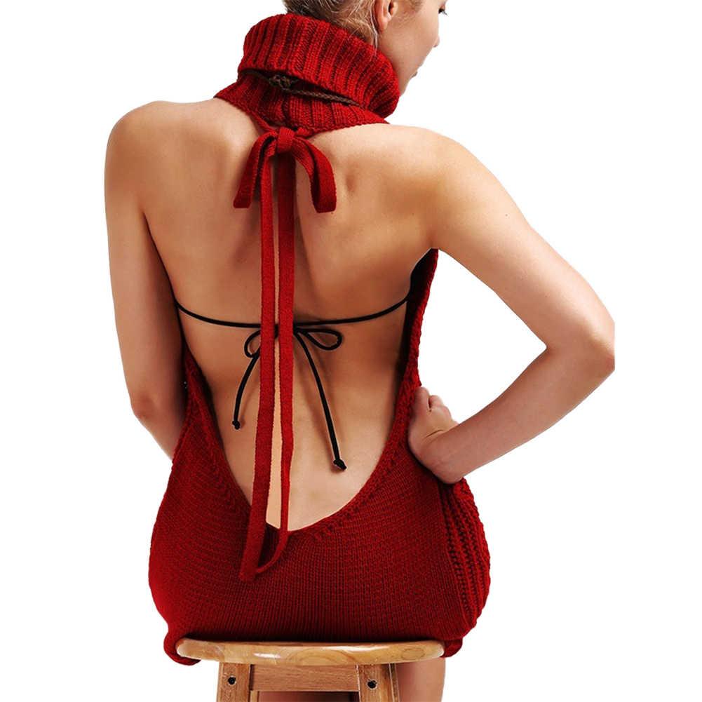 여자 섹시한 백 레이스 스웨터 민소매 터틀넥 풀오버 스웨터 코스프레 드레스 민소매 터틀넥 풀오버 니트 스웨터