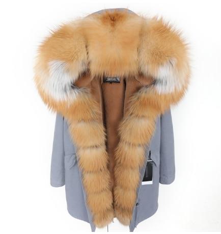 Winter neue echtpelz mantel natürliche große Fuchs pelz kragen abnehmbare faux pelz futter Mode lange parka dicke warme frauen der kleidung