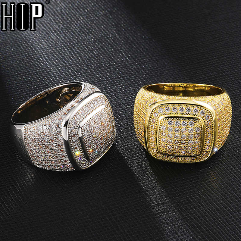 Hip Hop Đá Ra Bling Full CZ Charm Tready Vuông Bằng Đồng Nhẫn Đính Đá Zircon Cho Nam Nữ Trang Sức Vàng Size 8-11