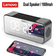 Portable Wireless Speakers Lenovo L022 Bluetooth Speakers Subwoofer Bluetooth 5.0 LED Alarm Clock TF Card AUX Dual Speakers