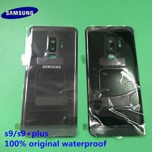Image 1 - الأصلي جديد سامسونج غالاكسي S9 plus S9 + الغطاء الخلفي الباب الخلفي الإسكان غطاء الزجاج الخلفي غطاء البطارية قطع غيار سامسونج S9