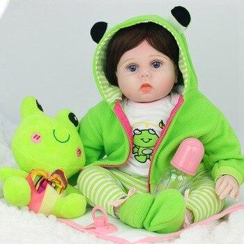 53CM Reborn Baby Dolls Adorable Lifelike Vinyl With Frog Plush Baby Reborn Girl Beautiful Cloth Body Birthday Gift