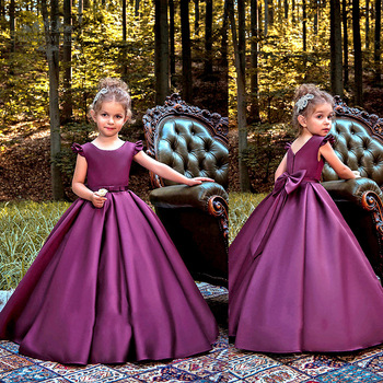 Noble Purple Flower Girl Dress for Wedding Girls First Communion Dress Satin Princess Gown with Beads Sash Elegant Kids Dresses