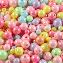 6/8/10/12mm ab candy cor acrílico contas redondas solta espaçador grânulos para fazer jóias diy colar pulseira acessórios