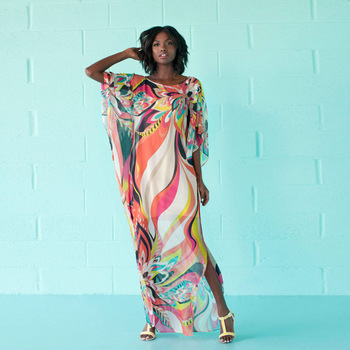 Kaftan Europe And America Slit Chiffon Not Positioning Printed Dress Bikini Bathing Suit Beach Cover-up LH16