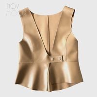 Novmoop 2020 fashion style women spring summer black khaki irregular sheepskin genuine leather vest gilet femme colete LT3079