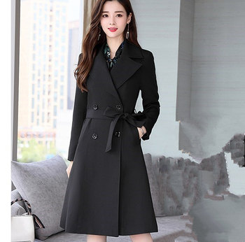 цена на Office Ladies Pink Black Blue Dresses Suit for Women Long Trench Coat and Floral Dress 2 Pieces Set Womens Casual Dress Suits