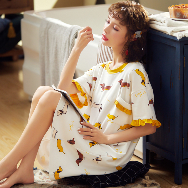 BZEL לבן נשים של פיג מות אביב קיץ הלבשת קצר שרוול גבירותיי לילה שמלת כותנה כתונת הלילה כתונת לילה חדש Cartoon הלבשה תחתונה