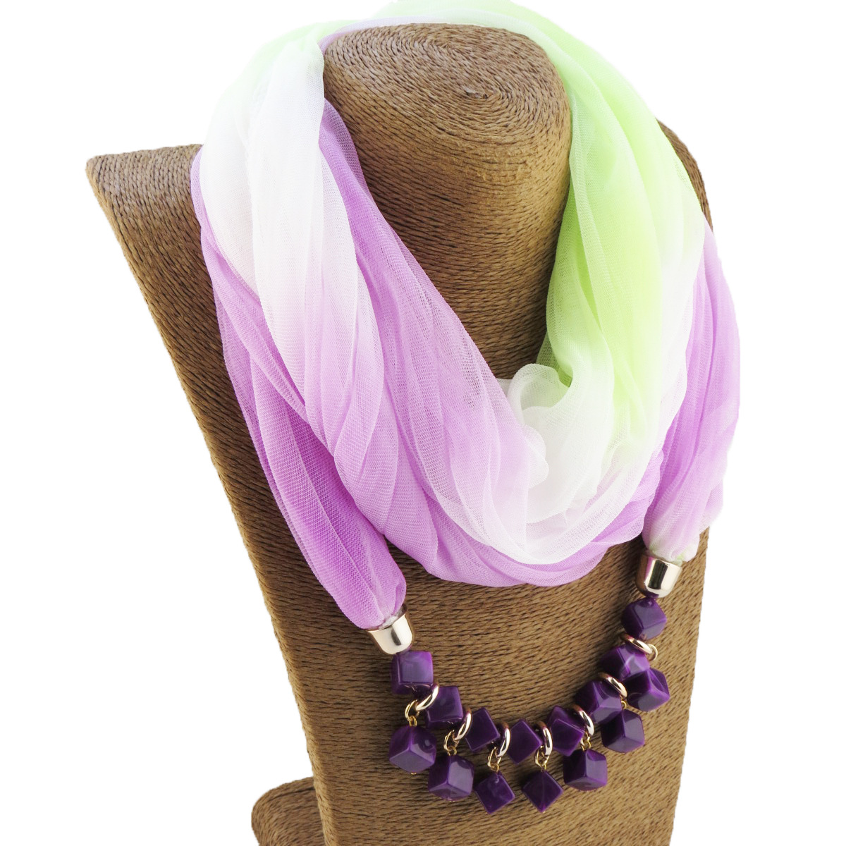 Fashion Lady Gradient Color Silk Scarf Ring Simple Bead Pendant Necklace Ring Scarf Multi-style Lady Muslim Head Scarve Hijabs