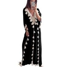 Fashion Dress Women Bohemian National Wind Tassel Beach Long V-neck Clothes Plus Size S-5XL