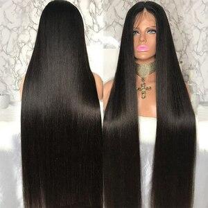 Image 3 - 32 34 36 inç düz dantel ön İnsan saç peruk kadınlar için brezilyalı Remy İnsan saç dantel kapatma peruk Perruque cheveux Humain
