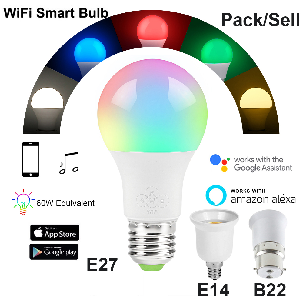 7W/10W Smart WiFi Light Bulb E27/B22/E14 RGBW Dimmable Wireless WiFi Remote Control Bulb Lamp Light For Echo Alexa Google Home