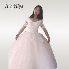 It's YiiYa Wedding Dress 2020 V-neck Short Sleeve Princess Bridal Ball Gowns Long Elegant Lace Plus Size Vestido De Novia HS333