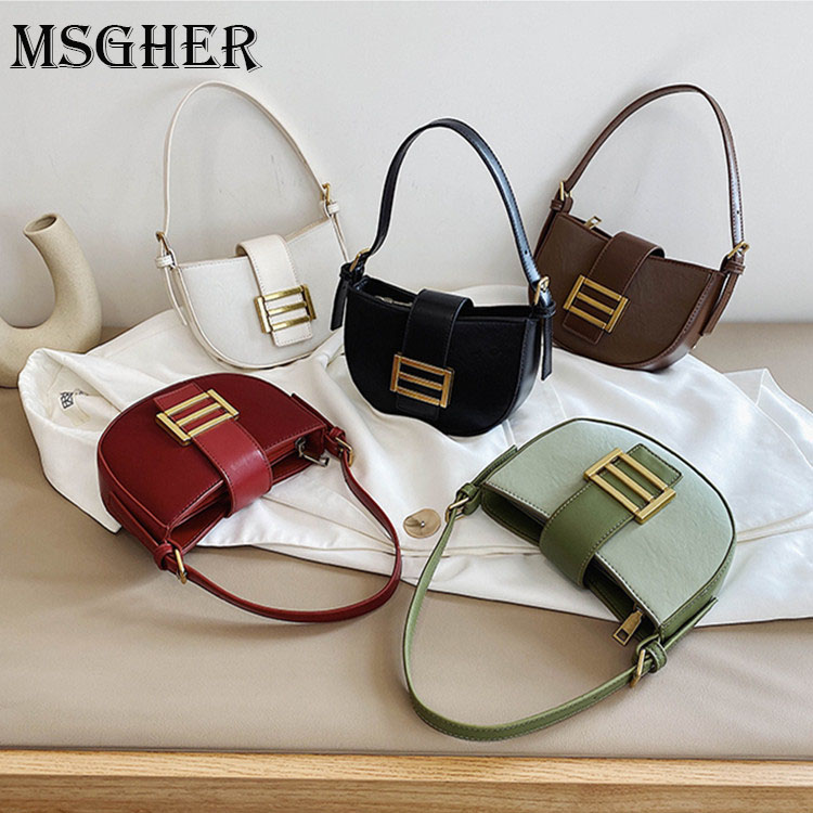 MSGHER PU Leather Shoulder Bags For Women 2020 Designer Winter Small Handbags and Purses Lady Hand Bag Female Totes|Top-Handle Bags| |  - title=