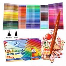 Ensemble de stylos à pointe Fine, 120 couleurs, double marqueur, brosse, pointes colorées, pour écrire, colorier, dessiner