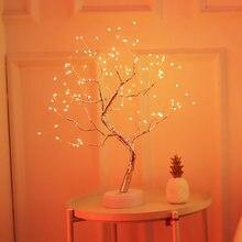 Светодиодный ночной Светильник Мини Рождественская елка медный