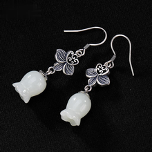 Silver Jewelry Lily-Of-The-Valley-Earrings Jade Hetian Chinese-Style White Charm Women's