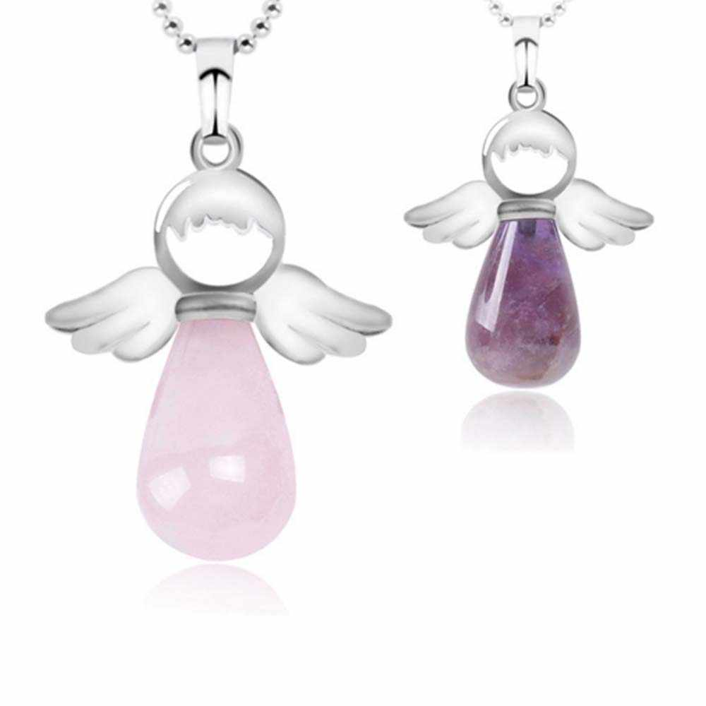 Natural Stone Angel Wings Pendant for Necklace Pink Quartz Onyx Silver-color Water Drop Pendants Female Jewelry Gift