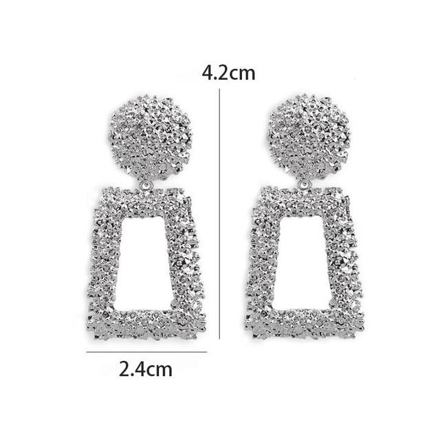 Vintage Earrings Large for Women Statement Earrings Geometric Gold Metal Pendant Earrings Trend Fashion Jewelry 6
