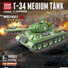 NEW 1113PCS WW2 Military Soviet Russia T-34 medium Tank Blocks Military soldiers figures Military technic tank Blocks toys printio soviet tank
