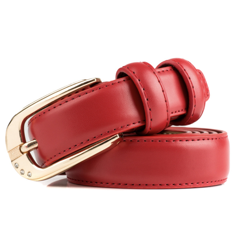 Red Belt Ladies Waist Belts For Women Gold Buckle Genuine Leather Cinturon Mujer Fashion Korean Style Cinto Femme Waistband 2020